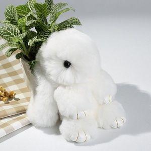 White Fluffy Bunny Keyring